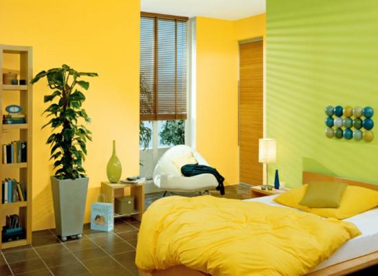 raumgestaltung mit farben gelb hell grün deko