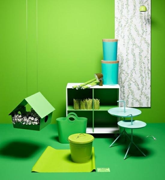 raumgestaltung mit farben grün grell deko