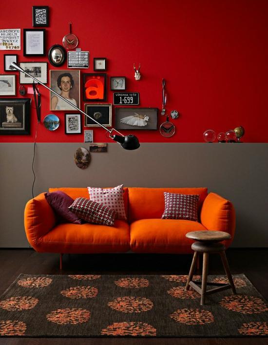 raumgestaltung mit farben orange rot sofa kissen deko wand