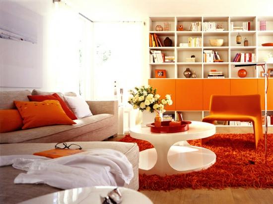 raumgestaltung mit farben orange weiß warm grell