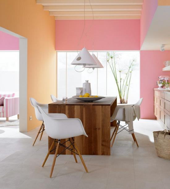 raumgestaltung mit farben pastellfarben rosa wandfarbe holz weiß
