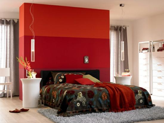 raumgestaltung mit farben rot warn nuancen farbakzente