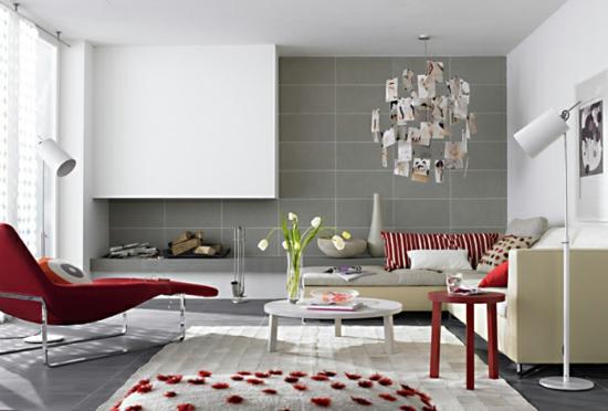 raumgestaltung mit farben rot weiß wohnbereich