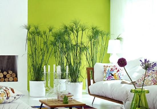 raumgestaltung mit farben weiß grün sofa wohnbereich