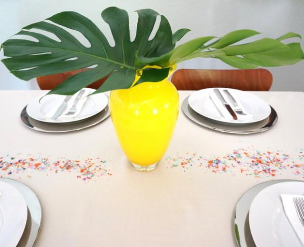 schöne Deko Tricks fürs Innendesign laub grün gelb glasvase