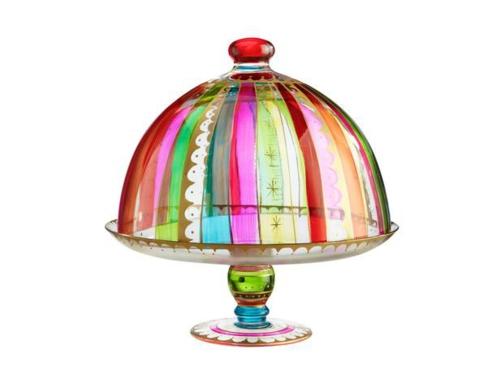 schöne Tortenständer und Kuchenplatten deckel glas bunt designs