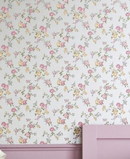 schöne blumen muster rosa feminine tapeten englisch stil