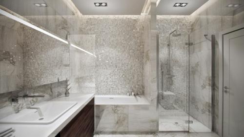 Moderne Luxus Badezimmer U003e Moderne Luxus Badezimmer Badezimmer Grau Weiß  Mosaik Luxus