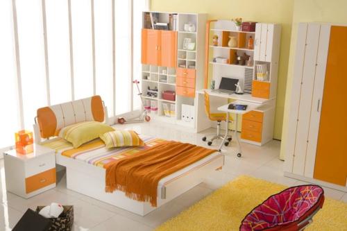 schlafzimmer in orange schreibtisch komputer jugend klappbar möbel