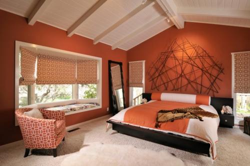 sensationelle Schlafzimmer in Orange warm ambiente einrichtung