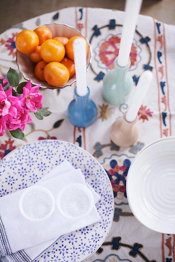stilvolle dekoideen kerzenständer kleine vasen in pastell