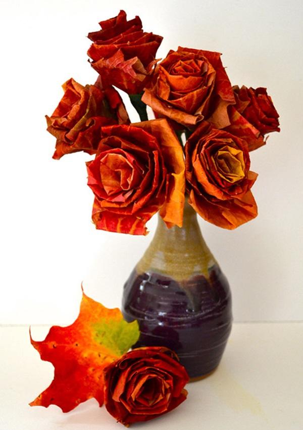 tannenzapfen und herbstblätter dekoideen rosen aus gefalteten blättern