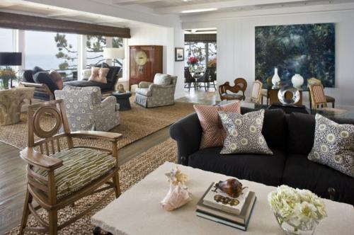 wie man die teppiche bei offenem wohnplan kombiniert. Black Bedroom Furniture Sets. Home Design Ideas