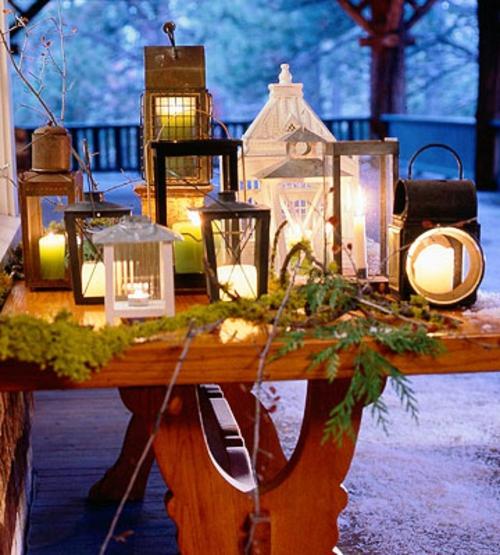 tisch deko laternen kerzen glühbirnen tisch außenbereich