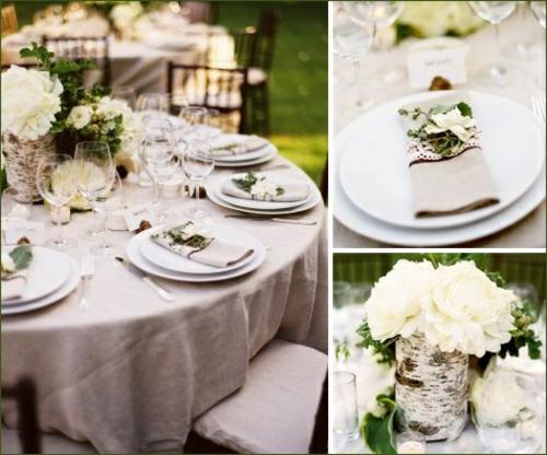 tischdeko hochzeit vase aus naturholz weiße rosen
