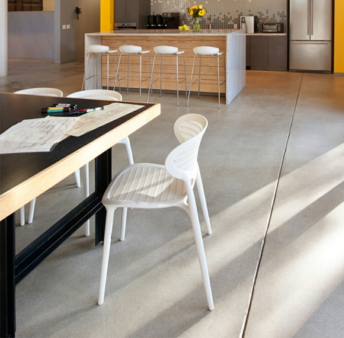 ultramoderne coole Office Designs nachhaltig interieur möbel beton boden