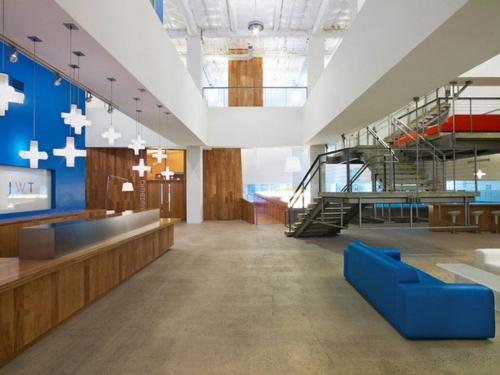 ultramoderne coole Office Designs sofa blau beton fußboden