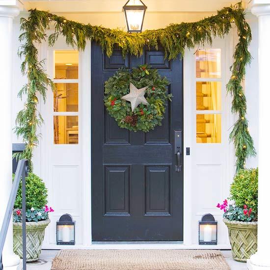 weihnachten deko bogen immergrün eingagng stern