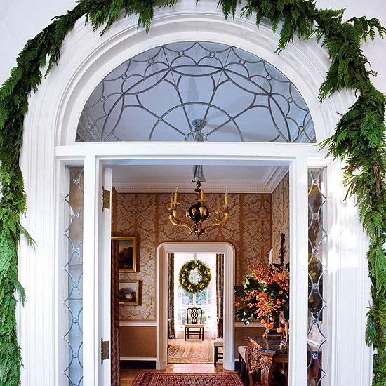 weihnachten deko bogen immergrün eingagng