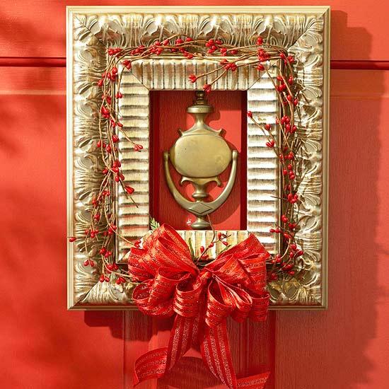weihnachten deko rot schleife hagebutte