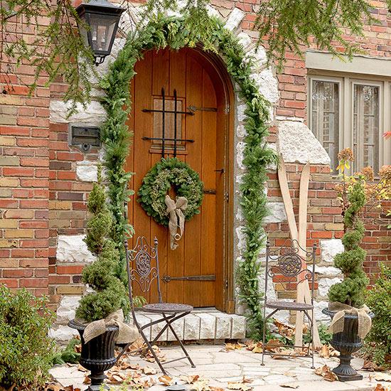 weihnachten verzierung ornamente eingang tür außenbereich