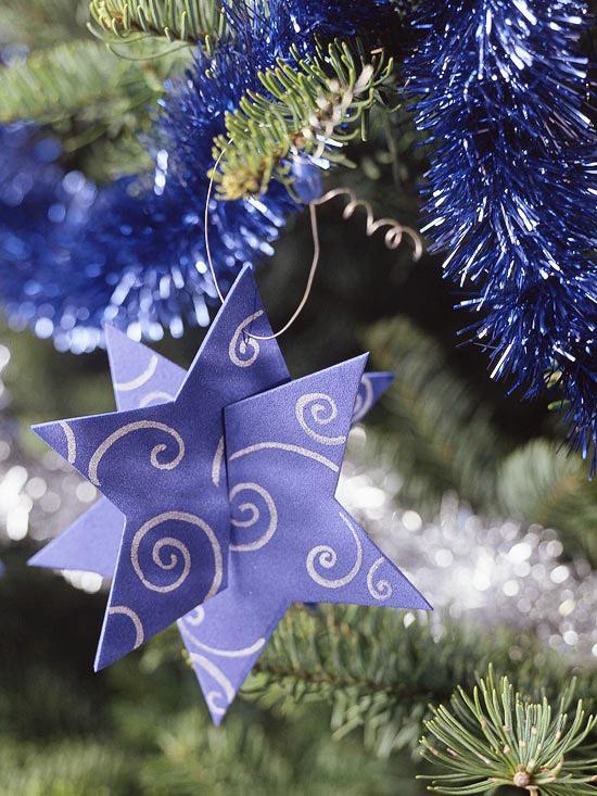 weihnachtsdeko basteln zwei teile stern in lila
