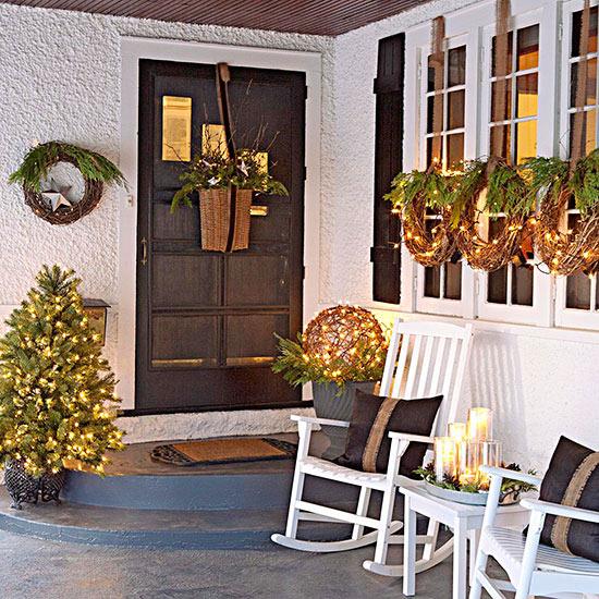 weihnachtsdeko ideen winter verzierung kränze veranda schmuck