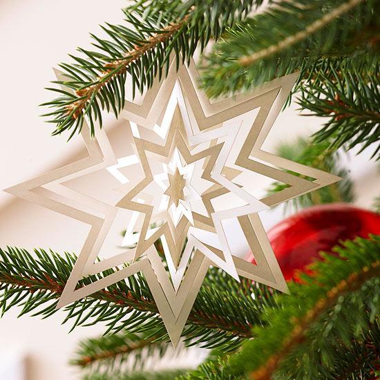 weihnachtsdekoration aus papier 3d stern in weiß