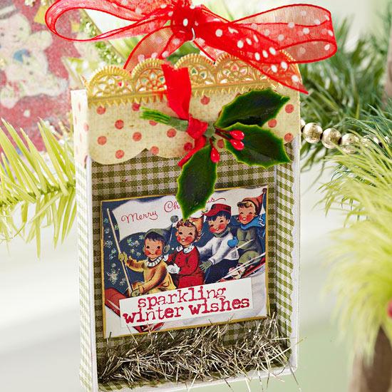 weihnachtsdekoration aus papier wunschtüte mit postkarte