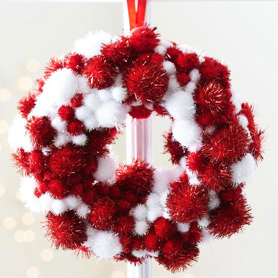 weihnachtsdekoration basteln kranz girlande rot weiß