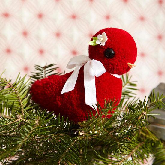 weihnachtsdekoration basteln weihnachtsbaum schmuck vogel wolle