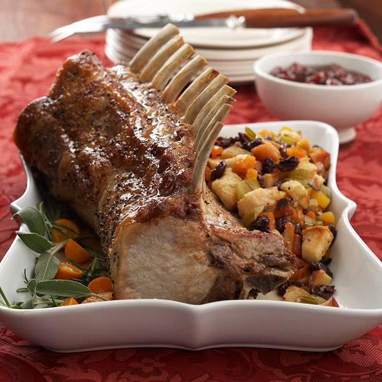 weihnachtsessen rezepte rippe vom schwein mit apfel kirschen füllung