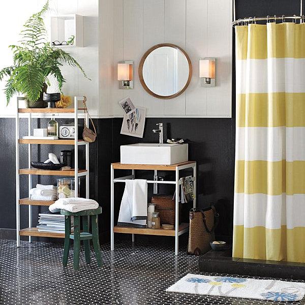 wohnen und dekorieren bad fliesen regal vorhang gelb blumentopf