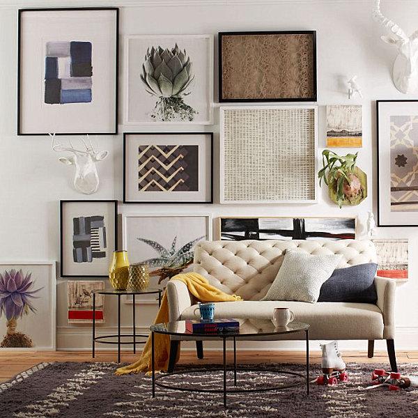 wohnzimmer wand dekorieren:West Elm Living Room Gallery Wall