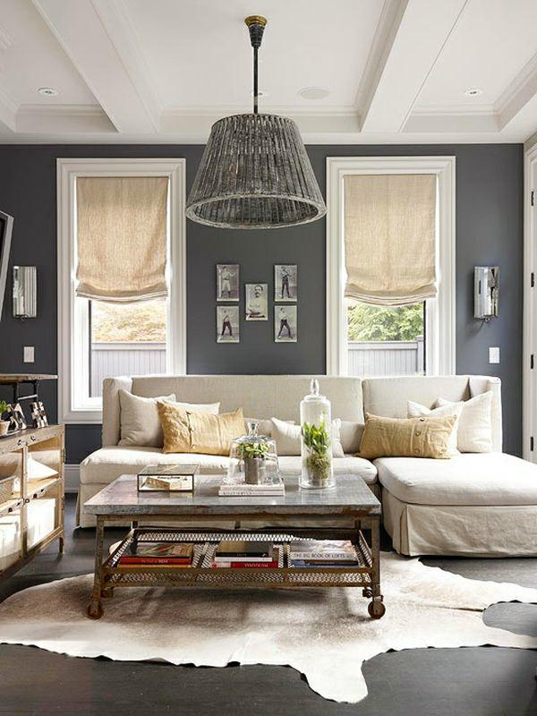 Wohnzimmer Farben Fellteppich Pendellampe Aus Grobem Holz