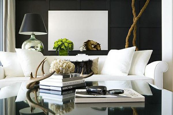 wohnzimmer farben - 22 dekorationsideen mit schwarz - Hirschgeweih Deko Wohnzimmer
