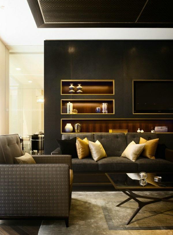 Wohnzimmer Farben - 22 Dekorationsideen mit Schwarz