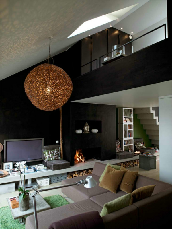 Wohnzimmer Tolle Farben Lampenschirm Rund Geflochten