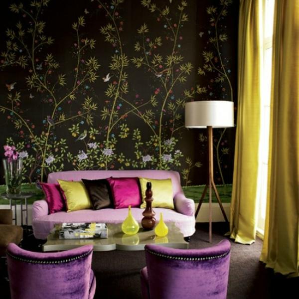 Wohnzimmer Farben Lila Samtweiche Sessel