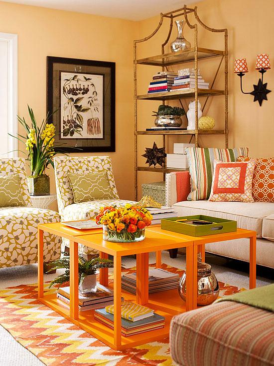 wohnzimmer multifunktional einrichten farbenfroh mit stil