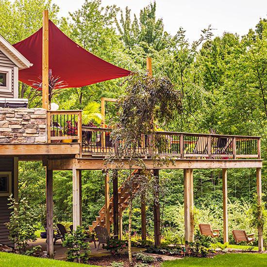 wunderschöne veranda inspirationen im zweiten stock aus natur holz