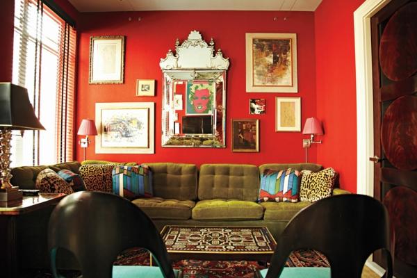 Aktuellste Trends bei der Einrichtung rot wand grasgrün sofa