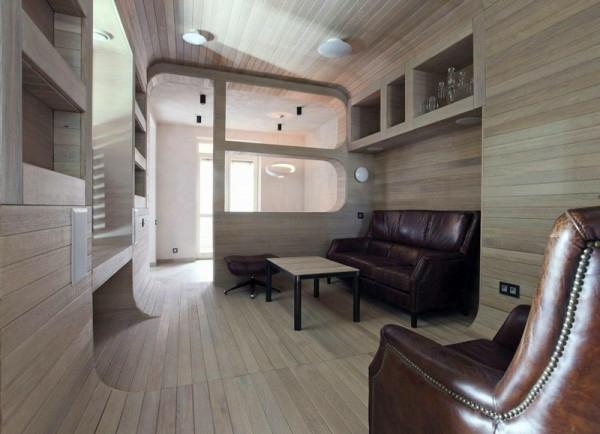 komplett aus Holz einrichtung gemütlich braun leder Apartment