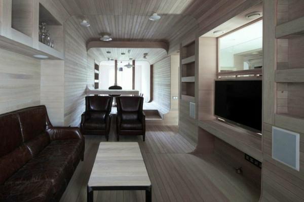 Apartment komplett aus Holz einrichtung gemütlich leder sofa