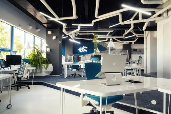 futuristisches Büro wie ein Raumschiff eingerichtet nachhaltig