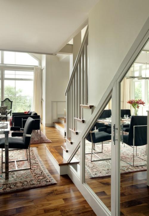 Ausgefallene Einrichtungsideen für Wandspiegel treppe teppich