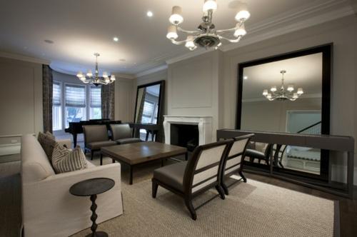 Wohnzimmer Einrichtungsideen Braun ~  Ausgefallene Einrichtungsideen für Wandspiegel wohnzimmer grau braun