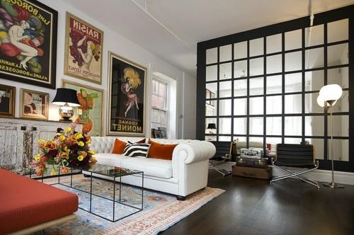 Ausgefallene Einrichtungsideen für Wandspiegel wohnzimmer sofa weiß