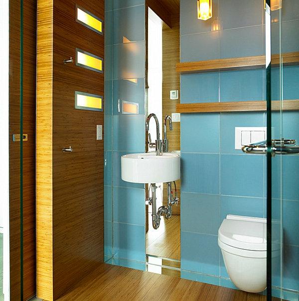 Badzubehör und Badeinrichtung holz wandgestaltung waschbecken blau