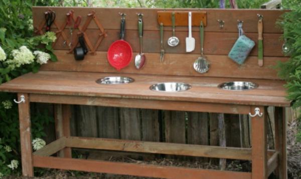 Basteln mit Kindern holz küchen außenbereich